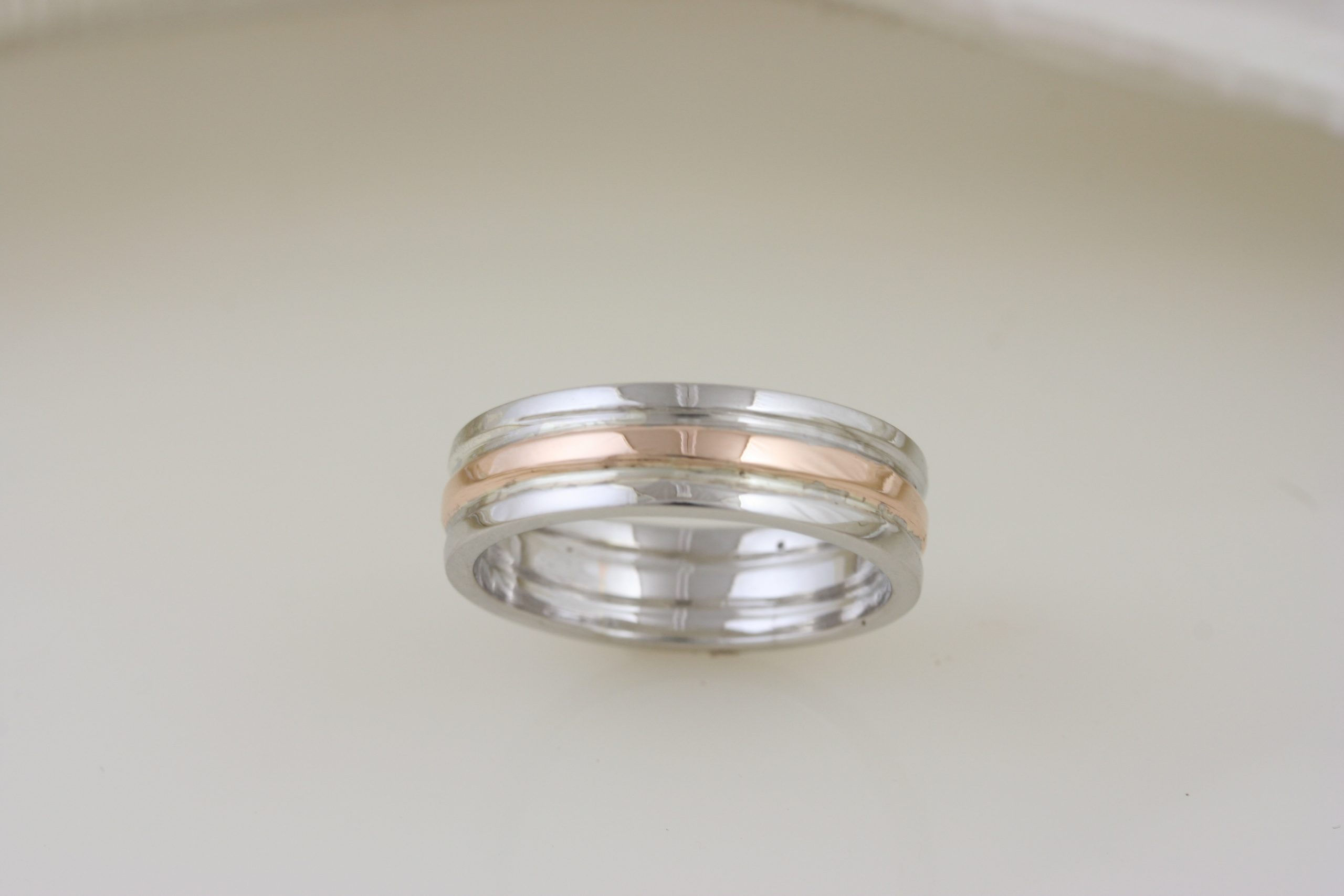 Rose Gold & White Gold Custom Trinity Band 6