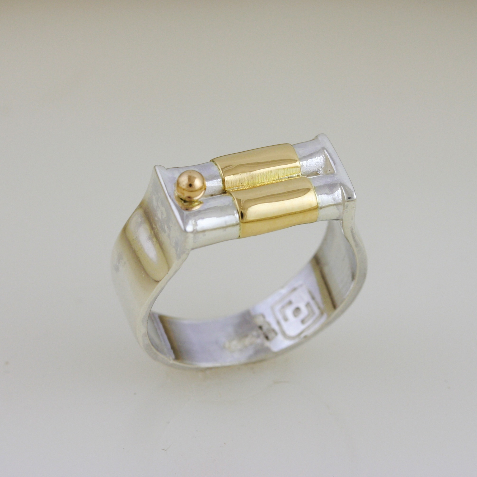 Dainty Silver & Gold Wedding Ring 5