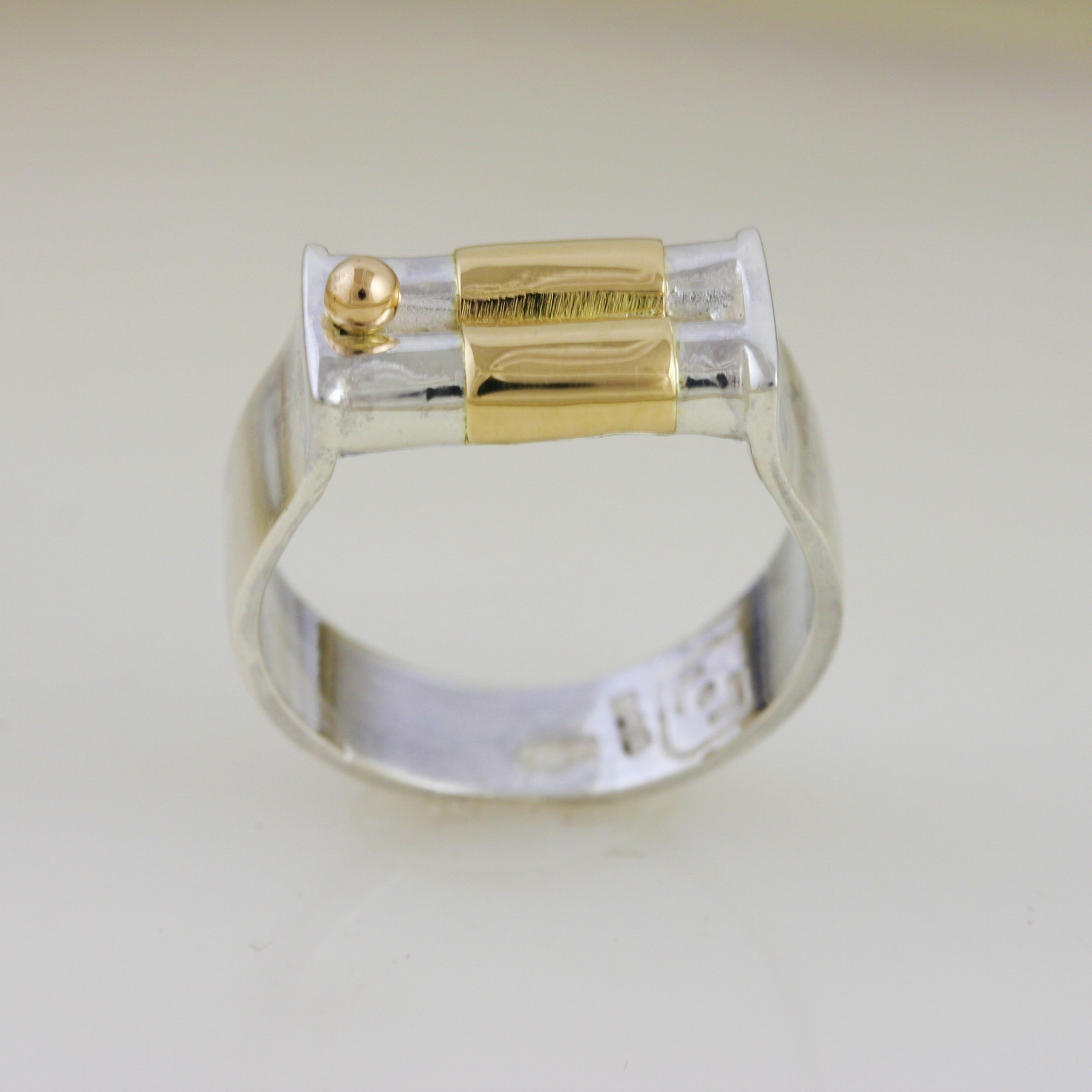 Dainty Silver & Gold Wedding Ring 6