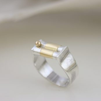 Dainty Silver & Gold Wedding Ring