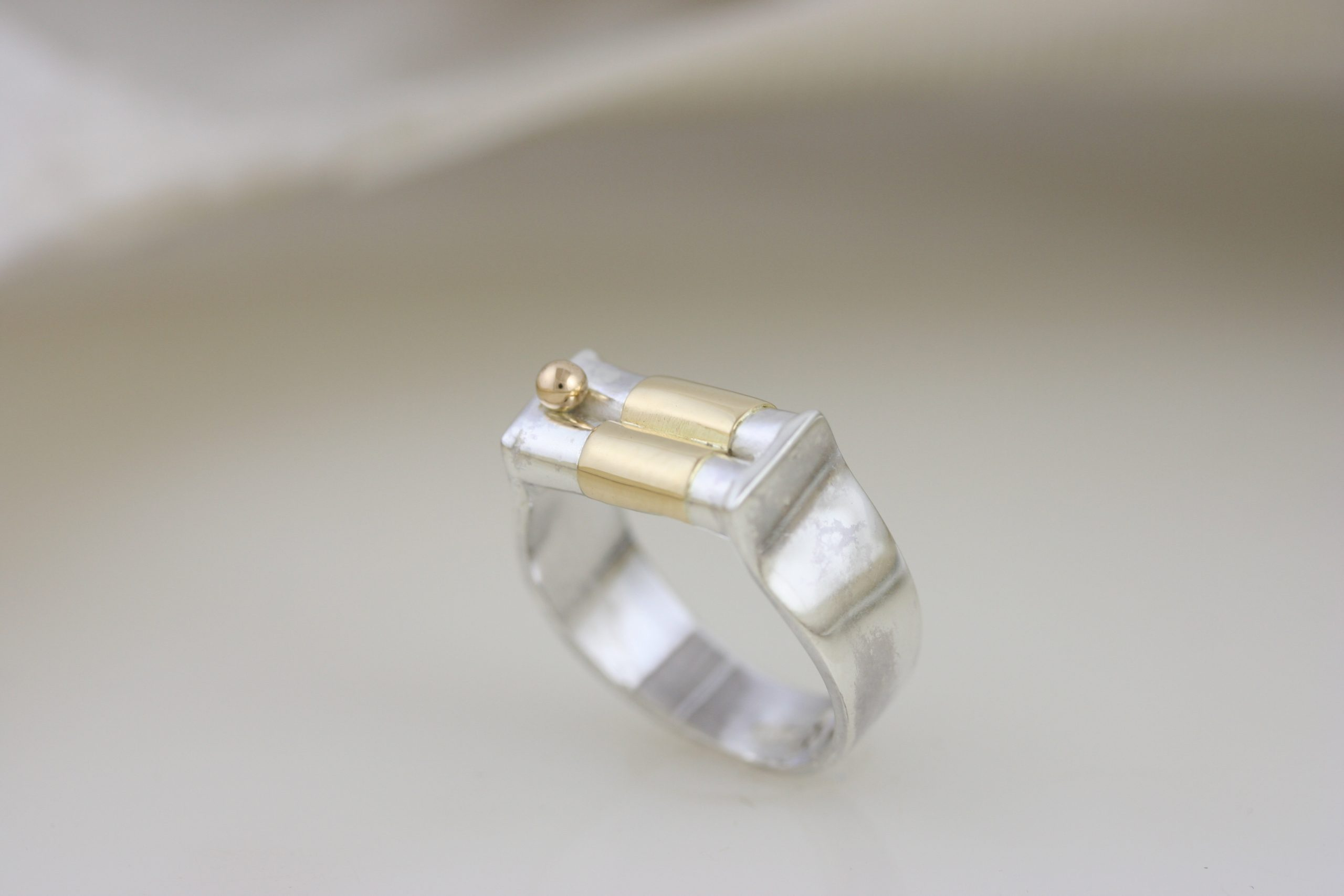 Dainty Silver & Gold Wedding Ring 4