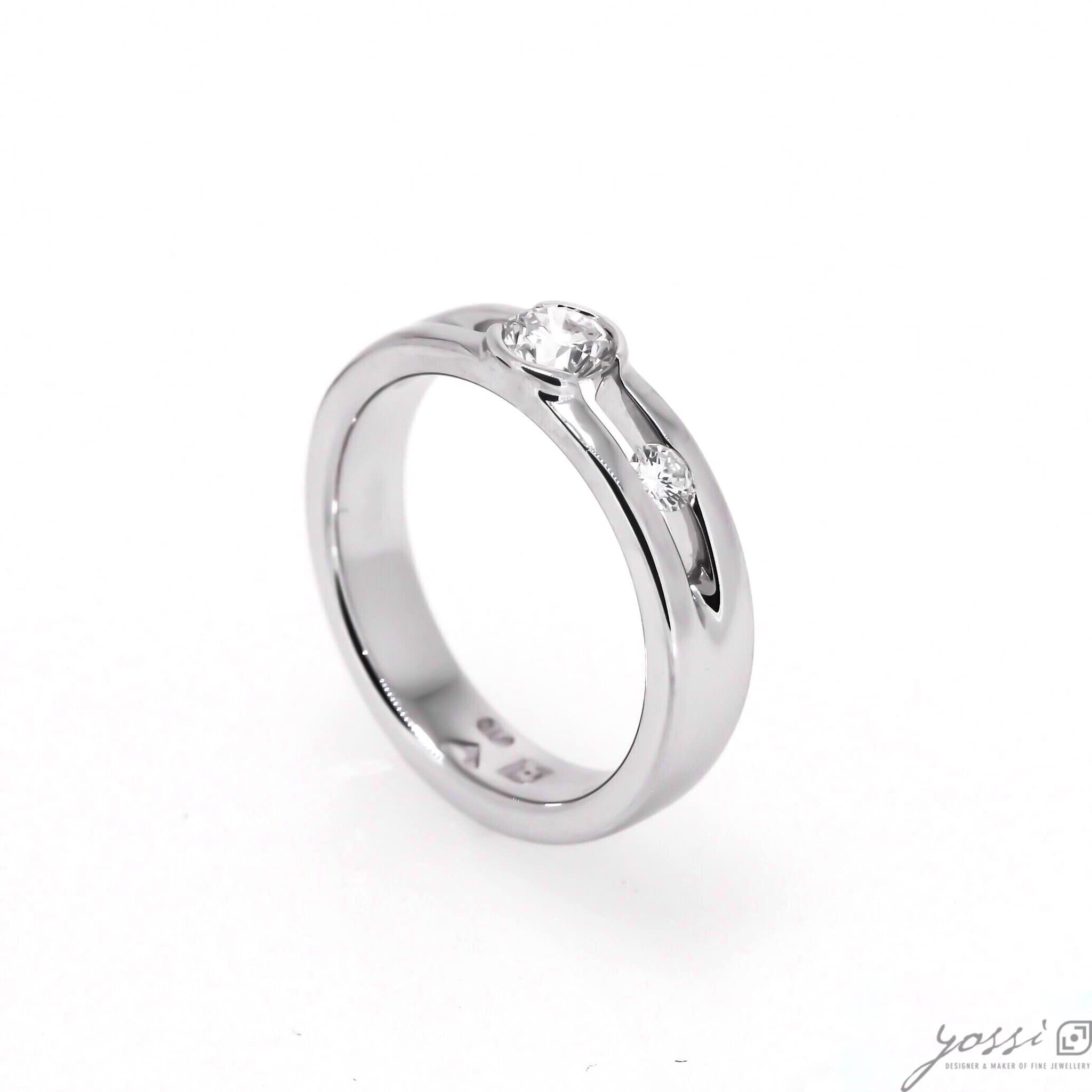 Asymmetric Diamond Engagement Ring