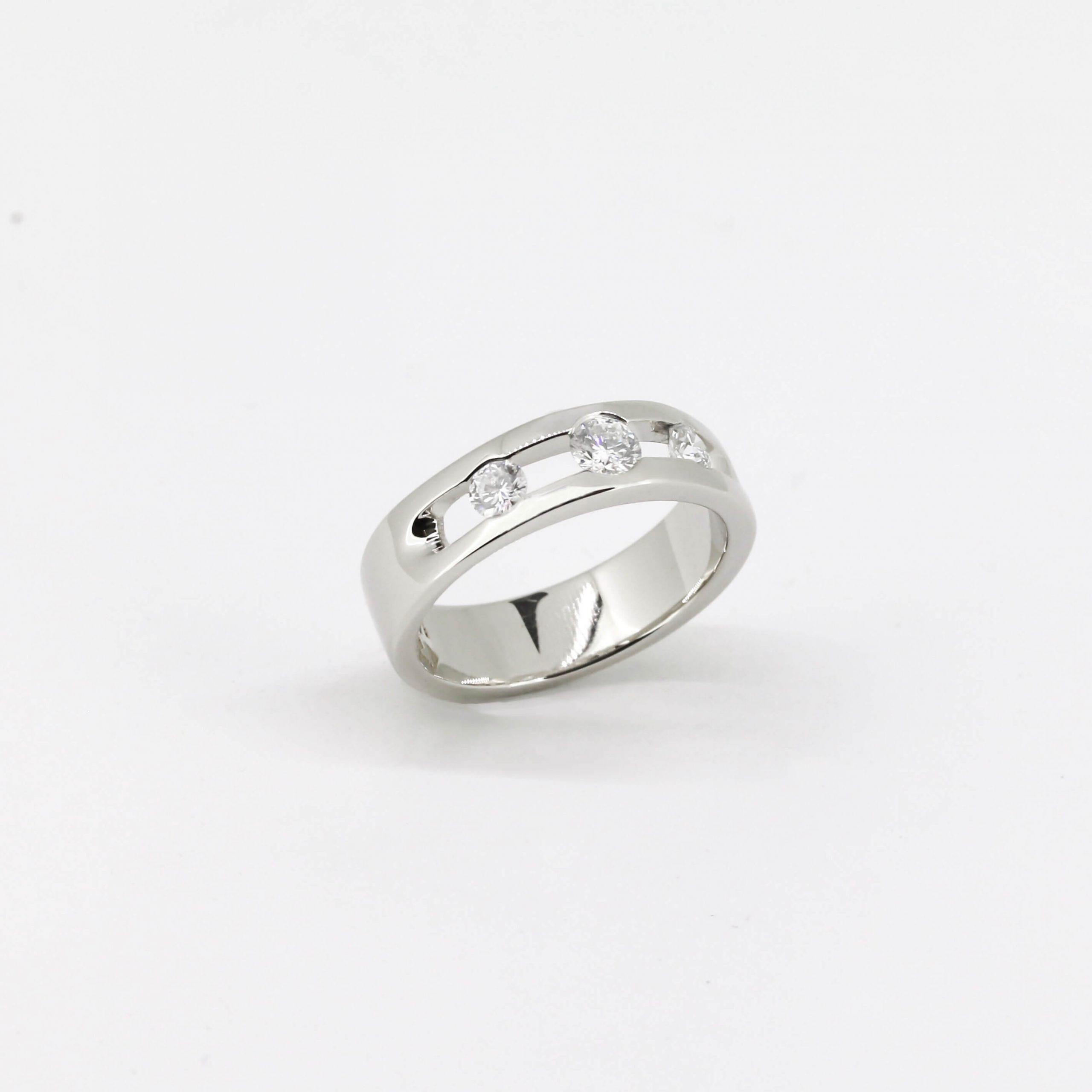 Triple Glitter Engagement Ring 8
