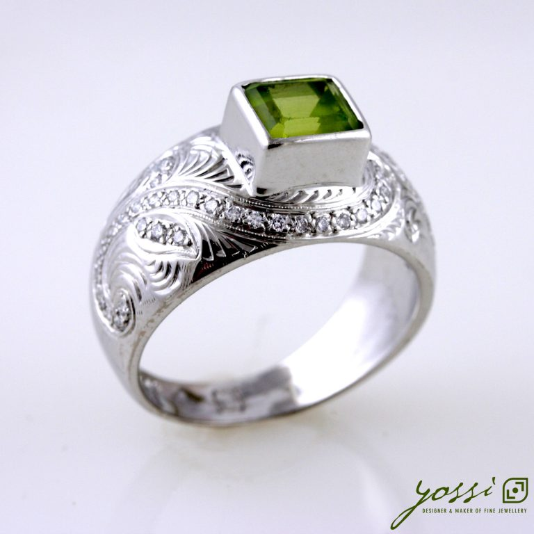 Engraved Peridot Stone Ring