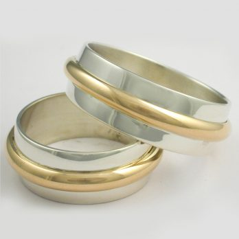 Striking Gold and Silver Wedding Band