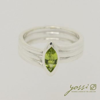 Marquis Cut Peridot & Sterling Silver Ring