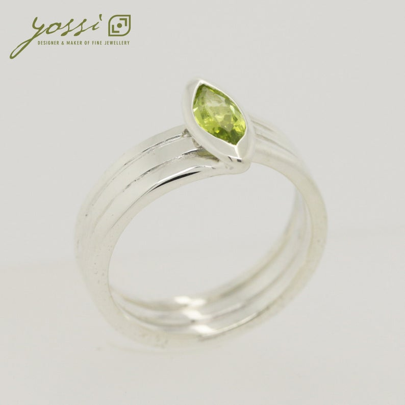 Marquis Cut Peridot & Sterling Silver Ring 5