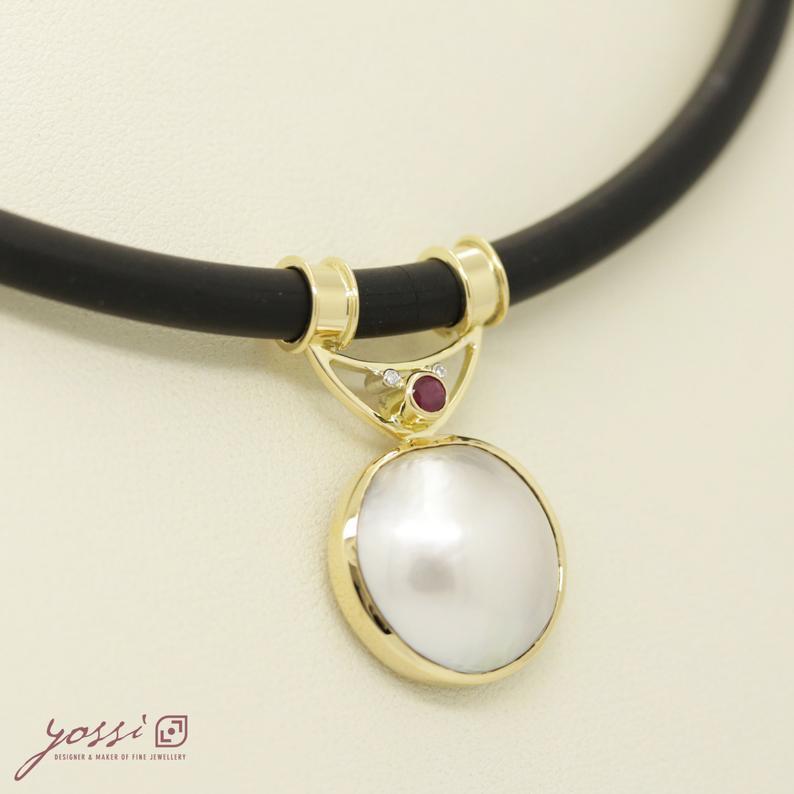 Royal Pearl Ruby & Diamonds Pendant 3