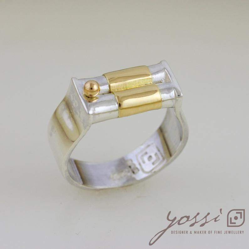 Dainty Silver & Gold Wedding Ring 3