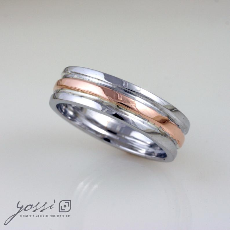 Rose Gold & White Gold Custom Trinity Band 3