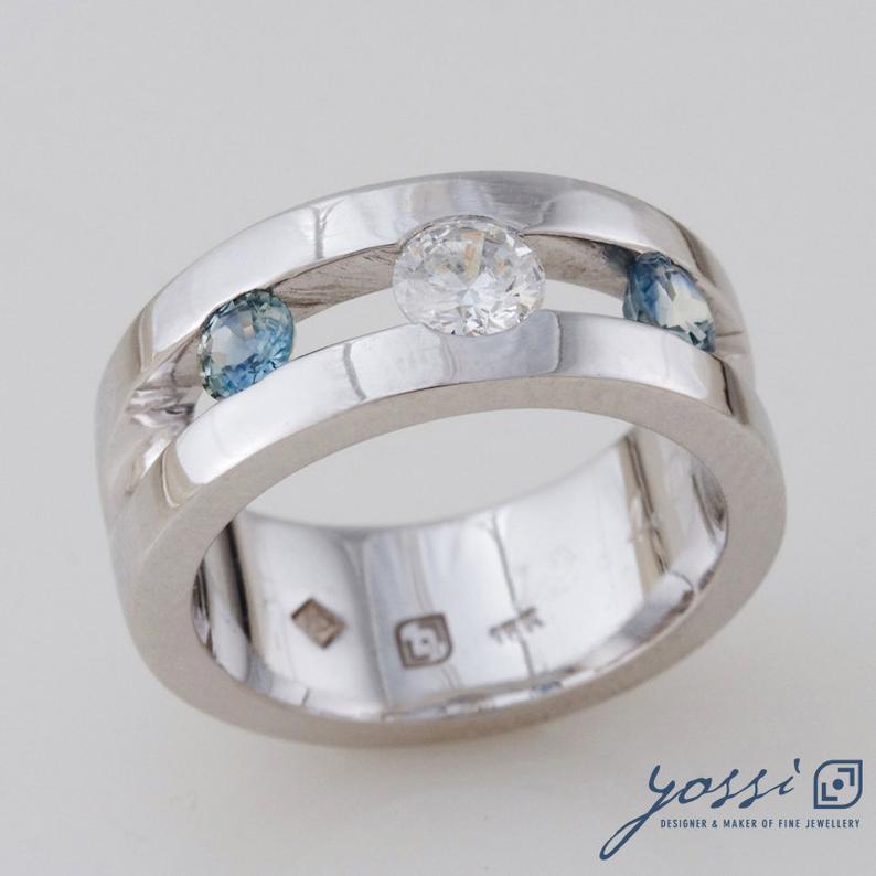 Sparkling Marine Statement Ring | Diamond, Sapphire & White Gold 3