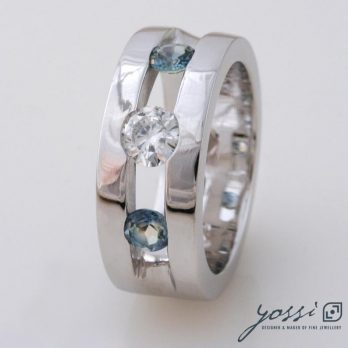 Sparkling Marine Statement Ring | Diamond, Sapphire & White Gold