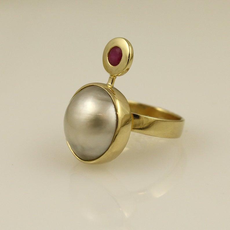 Luxury Pearl & Ruby Ring 10
