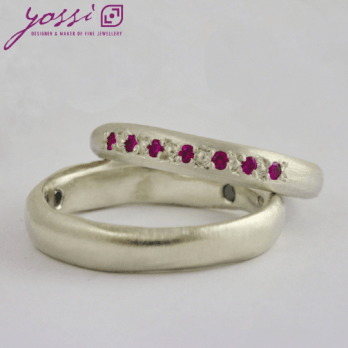 Pink Ruby & White Gold Engagement Ring – Available As Wedding Set
