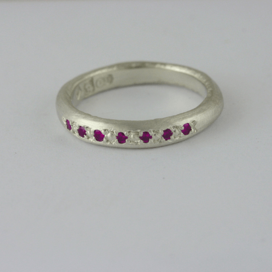 Pink Ruby & White Gold Engagement Ring - Available As Wedding Set 3