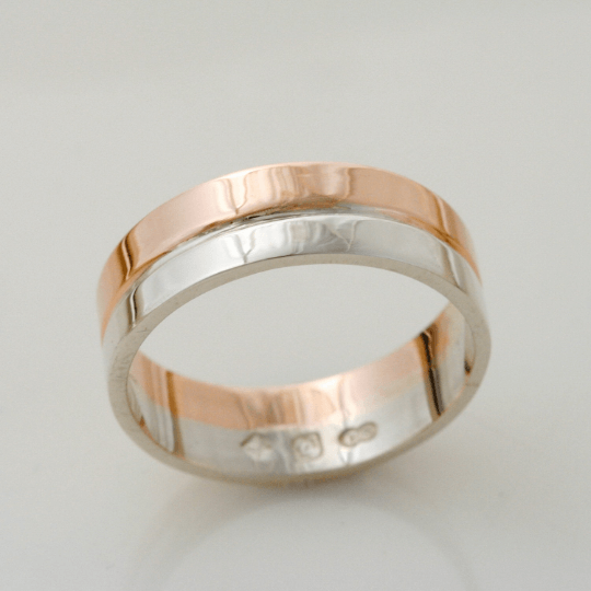 Graceful Rose and White Gold Wedding Ring 4