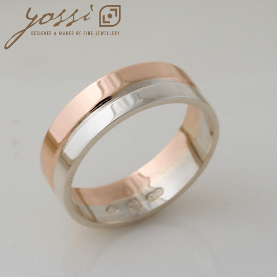 Graceful Rose and White Gold Wedding Ring 3