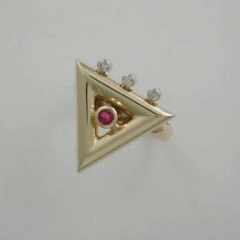 Exquisite Diamond and Ruby Triangle Ring
