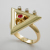 Exquisite Diamond and Ruby Triangle Ring 2